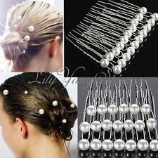 20X Charm Wedding Bridal Party Hair Pins Clip Barrette White Pearl Hairpins