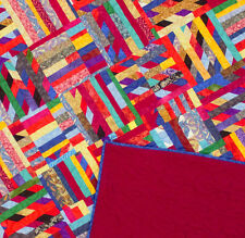 Graphic Crazy quilt - FINISHED QUILT - Great masculine Scrap Quilt - Must See !