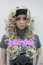 Sexy Ladies wig Long Black/Brown mix/blonde 3/4 with headband Wigs+free wig cap
