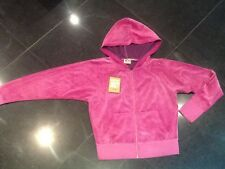 "NWT Juicy Couture New Ladies Small Pink Velour Hoodie Wth ""J"" Zip Pull UK 8 / 10"