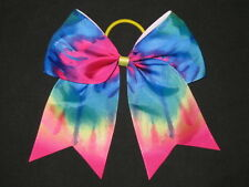 "NEW ""TIE-DYE RAINBOW"" Cheer Bow Pony Tail 3"" Ribbon Girls Hair Bows Cheerleading"