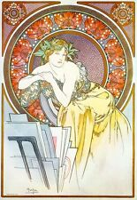 Girl with Easel 1898 Alphonse Mucha Reproduction Art Nouveau Deco Poster Print