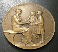 1906 FRENCH TEACHER AWARD ART NOUVEAU / BRONZE MEDAL by ROTY / M84