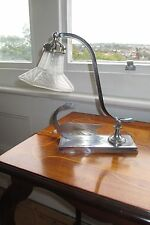 Fabulous original French Art Deco 1930s chrome desk table lamp with swan base