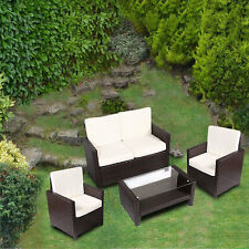 4PC Brown Wicker Rattan Sofa Furniture Set Patio Garden Lawn Cushioned Seat New