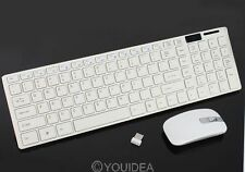 2.4G White Optical Wireless Keyboard w/Mouse USB Receiver Keypad Film For PC