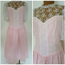 New Vintage 80s Gunne Sax Dress Size Medium Lace Sheer Pink Formal Festival