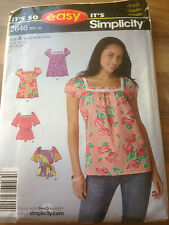 SIMPLICITY sewing pattern IT'S SO EASY BLOUSE size 10-20 (2646)