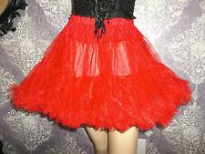 Vintage Half Slip Sheer Tricot Red Ruffled Petticoat Skirt LEG AVENUE Lingerie