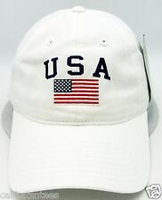 USA American Flag Cap US Military Unconstructed Dad Hat Adjustable OSFM White