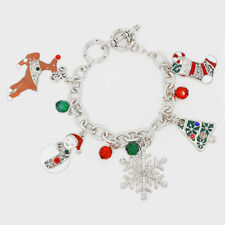 silver burnished multi color christmas /snowflake charm bracelet e1