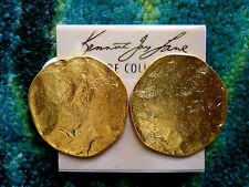 Kenneth Jay Lane Satin Gold Hammered Coin Button Clip Earrings