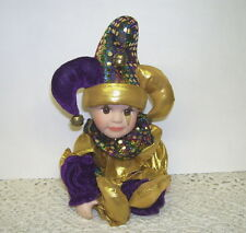 PORCELAIN SHELF SITTER JESTER DOLL W/ ADORABLE FACE