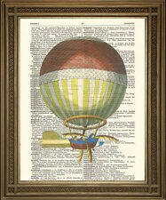 "STEAMPUNK HOT AIR BALLOON: Vintage Flying Machine Dictionary Art Print (8 x 10"")"