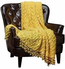 Yellow Throw Blanket Home Decorative Woven Popcorn Texture Knit Bedding Warm New