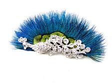 Pfauenfeder Silberner Strass Haar-clip Fascinator Braut 1920s Blau Vtg Z45