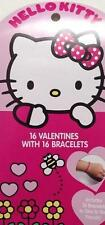 New HELLO KITTY 16 VALENTINE'S DAY Cards w/ Bracelets for School Party Trading