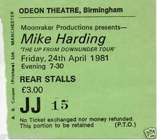 "MIKE HARDING CONCERT TICKET  1981 ""THE UP FROM DOWNUNDER"" TOUR"" RARE FULLY DATED"