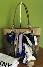 DKNY Brown Cream China-Sand With Scarf Tote Bag