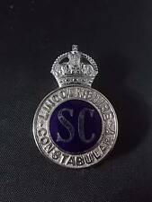 RARE Vtg LINCOLNSHIRE Special CONSTABULARY SC POLICE Cap Helmet BADGE Obsolete