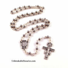 Stainless Steel Bead Rosary Beads Italian Miraculous Medal Unbreakable Rosaries