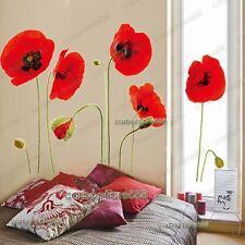 Rojo Amapola Flores Fondo De Pantalla De Pared Pegatinas Arte Etiqueta Mural