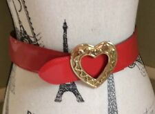 Fabulous! Moschino Redwall Size 40 Red Patent Leather Gold Tone Heart Belt!