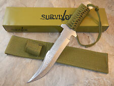 """12"""" TACTICAL HUNTING Survival Damascus FIXED BLADE KNIFE Army Bowie w/ SHEATH"""