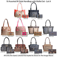 Wholesale Lot - 10 Assorted M-Style Women's Designer Handbag w Clutch Wallet Set