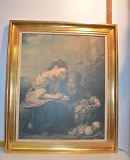 """Gold Tone Framed Painting of 2 Women Selling/Buying Fruit  27"""" x 22""""  No Glass"""