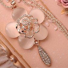 Blumen Halskette Strass Rosen Collier Kette Anhänger Damenmode Damen Schmuck AU