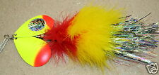 Musky Mayhem Electric Bunny Buchtail Musky Pike Lure Red Yellow Inline Spinner