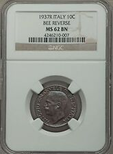 1937R Italy 10c NGC MS62 semi-key date of the series in top grade
