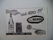 advertising Pubblicità 1961 OLIO BERIO - ONEGLIA