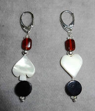 Mother-of-Pearl Heart & Spade~Red~Blk~Crystal 925 Silvr Drop Earrings~Play Cards
