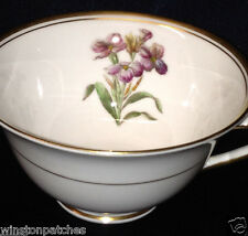 ROYAL WORCESTER WILLIAMSON FLOWER FOOTED CUP 8 OZ WALLFLOWER GOLD TRIM