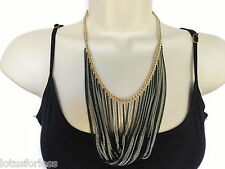 "Sexy 20"" Black And Gold Layered Curb Chain Necklace Multi Strand"