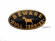 English Bull Terrier & Motif Beware Dog Sign - House Garden Plaque  Gold/Black