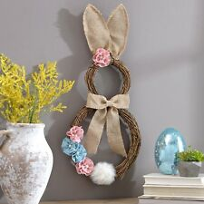 Easter Spring Decoration Rattan Bunny Wreath Burlap Cotton Tail Door Wall Hang
