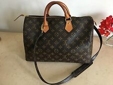 AUTHENTIC LOUIS VUITTON MONOGRAM SPEEDY 35 HANDBAG WITH STRAP