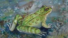 "ANTIQUE CHINESE ""FROG"" WATERCOLOR ON PAPER PAINTING FRAMED WITH GLASS"