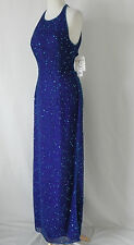 New Scala Formal Dress Maxi-Halter Beading/Sequin Bra Silk Blue/Purple Size XL