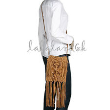 LUCKY BRAND MACRAME FRINGE CAMEL SUEDE SMALL SHOULDER MESSENGER CROSSBODY BAG