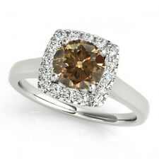 1.07 Carat Brown Cognac Diamond Solitaire Halo Fancy Engagement Ring 14k Gold