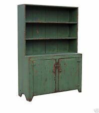 COUNTRY PRIMITIVE PAINTED STEP BACK CHINA CABINET HUTCH REPRODUCTION FURNITURE