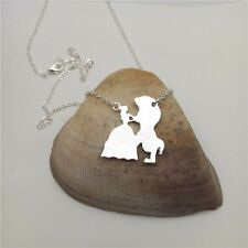 Beauty And The Beast Silver Chain Necklace Silhouette