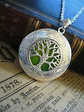 Árbol de la vida Medallón Collar Colgante Gótico Verde Amarillo Plata Foto Fantasía