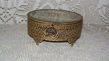 VINTAGE GLOBE GOLD FOOTED JEWELRY BOX ROSE DESIGN FANCY ORNATE BEVELED GLASS LID