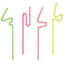 500 neon Trinkhalme Ø 6 mm 25 cm langer flexibler Abschnitt Party Strohhalme