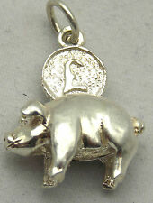 MOVING STERLING SILVER PIGGY BANK CHARM